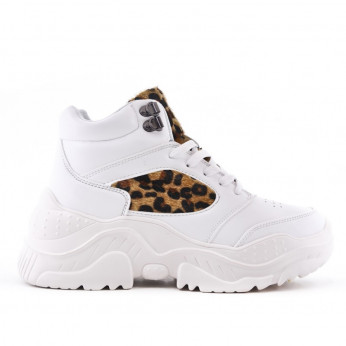 White Leopard Sneakers On Wedge Bete