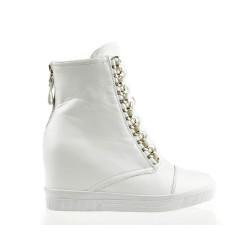 Sneakersy Białe z Łańcuchem Glam