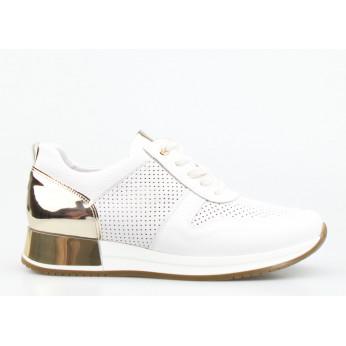 Sneakersy Skórzane Ażurowe Pozłacane Białe Goldi