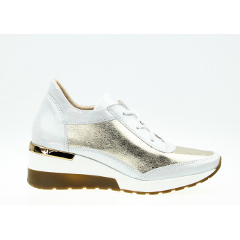 Sneakers Shiny Leather White Gold Ex Deo
