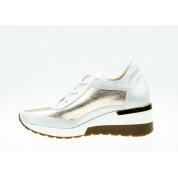 Sneakersy Mieniące Się Skórzane Białe Złote Ex Deo