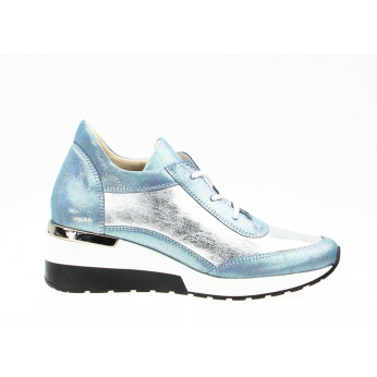 Sneakers Shiny Leather Silver Blue Ex Deo