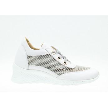 Sneakersy Na Mieniącym Się Koturnie Skórzane Białe Odia