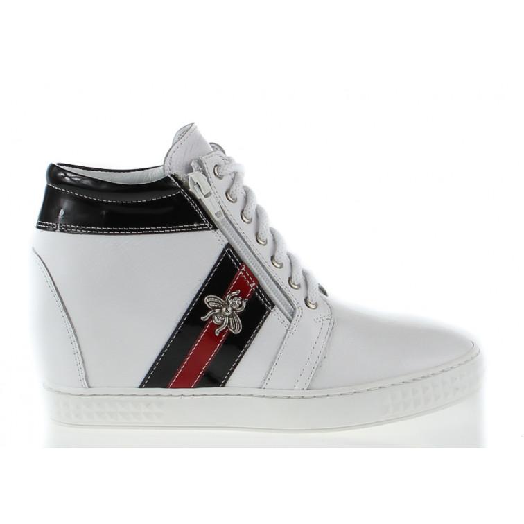 a0de393f Sneakersy Skórzane z Ozdobą Białe Fly - Ekstra Szpilki