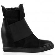Sneakersy Skórzane z Gumą Czarne Stellar