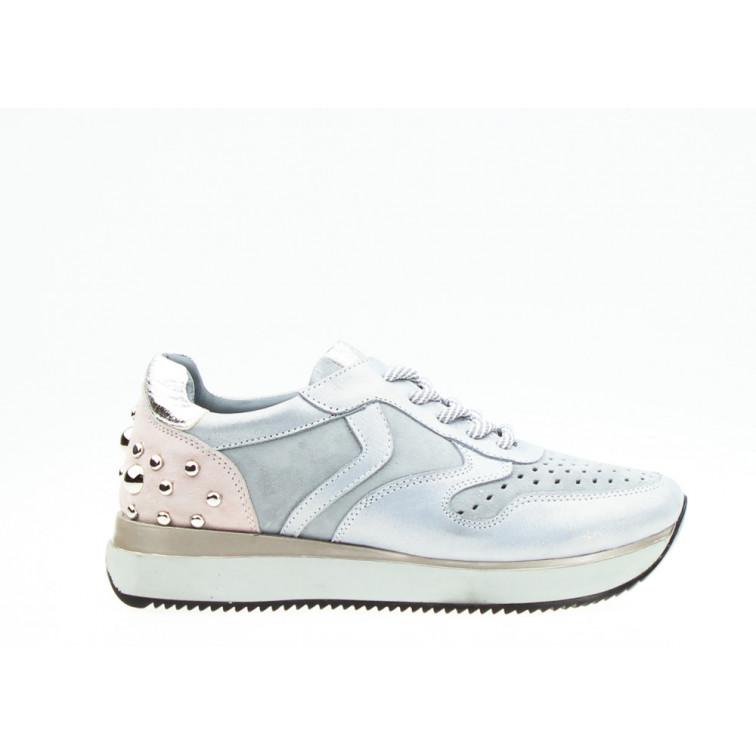 Sneakersy z Dżetami Skórzane Szare You Will Miss Me