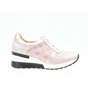 Sneakers With Letters Leather Pink Do It