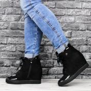 Sneakersy Na Koturnie Ocieplane Zamszowe Czarne Morbidia