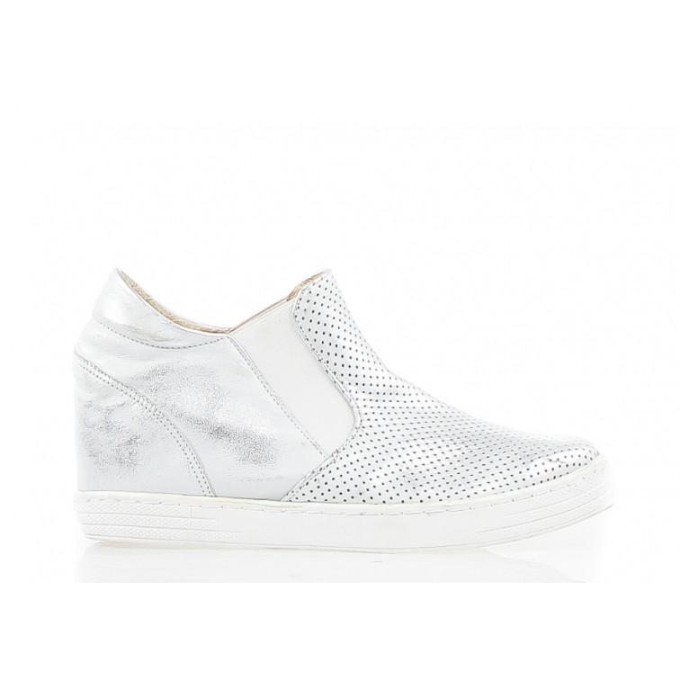 Sneakersy Skórzane Ażurowe Srebrne Argos