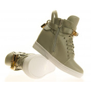 Sneakersy damskie Szare z kłódką Gold