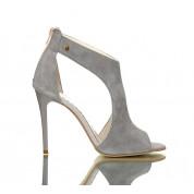 Sandały Na Obcasie Skórzane Luxury Pure Grey