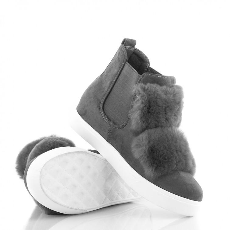 1accfb968743e -18% Niedostępny Szare Sneakersy z Futerkiem Total