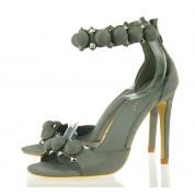Sandały Na Szpilce Pompon Grey