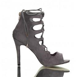 Sandały Na Szpilce Szare Wiązane Tie