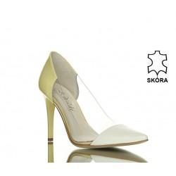 Szpilki Biało-Żółte Transparentna Elegancja