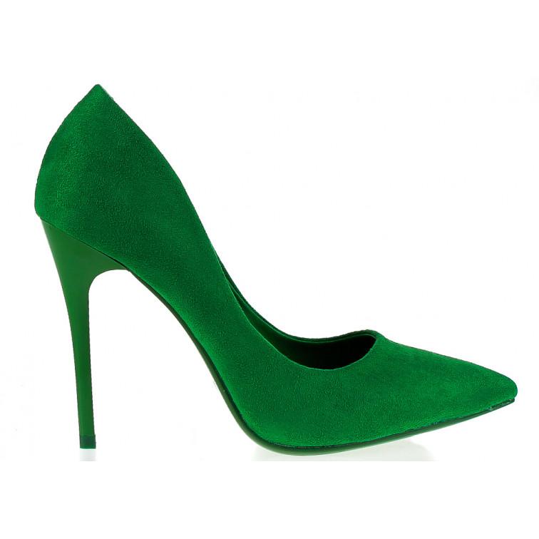 Szpilki Eko Zamszowe Zielone Margaret