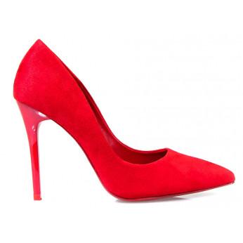Red Eco Suede Heels Suzy