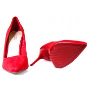 Szpilki Zamszowe Czerwone Suzy