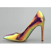 Szpilki Holograficzne Wężowe Szampańskie Rainbow