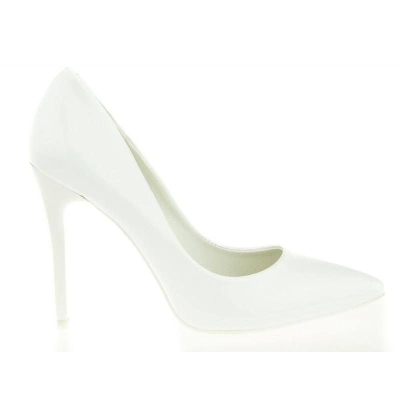 483e265e6620d Białe Czółenka Damskie Aria - buty damskie, czółenka, białe, wysoki ...