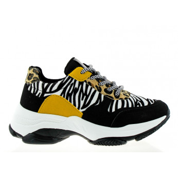 Black Trainers with Many Patterns Multicolored