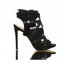 Czarne Sandały Na Szpilce Bonded