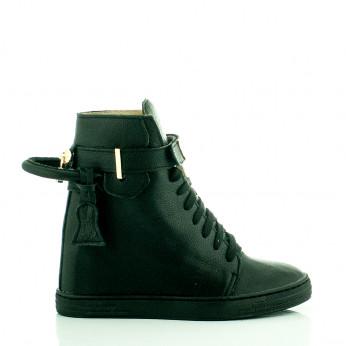 Sneakersy Z Kłódką Skórzane Czarne Padlock