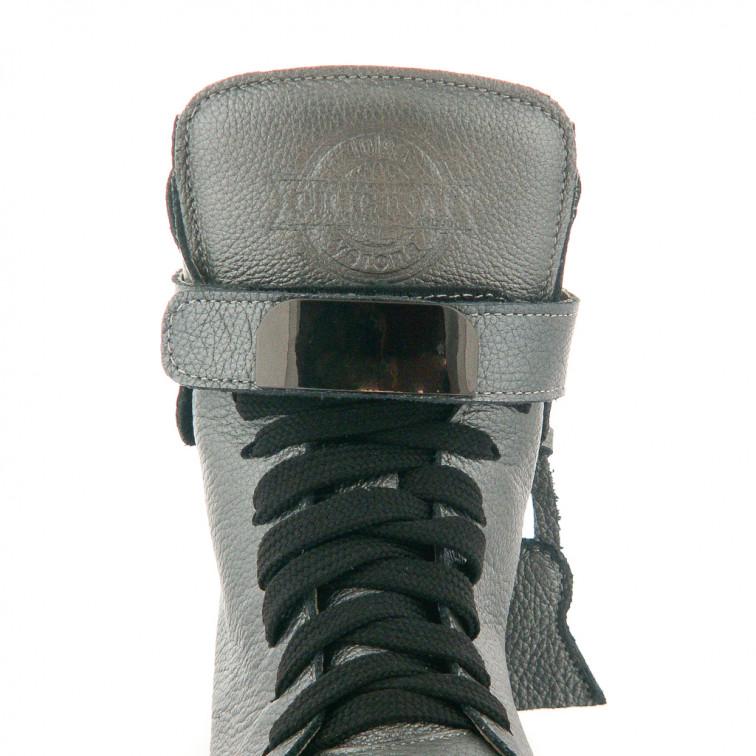 db1f5dc4fc491 Sneakersy Z Kłódką Skórzane Szare Padlock - Ekstra Szpilki