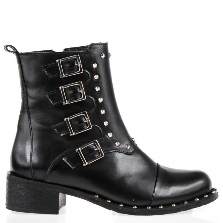 68f98ed1073e1 Black Leather Low Heel Ankle Boots Pandemonium - Ekstra Szpilki