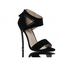 Sandały Na Obcasie Czarne Zamszowe Metallic Chic