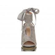 Sandały Na Szpilce Zamszowe Flowers Grey