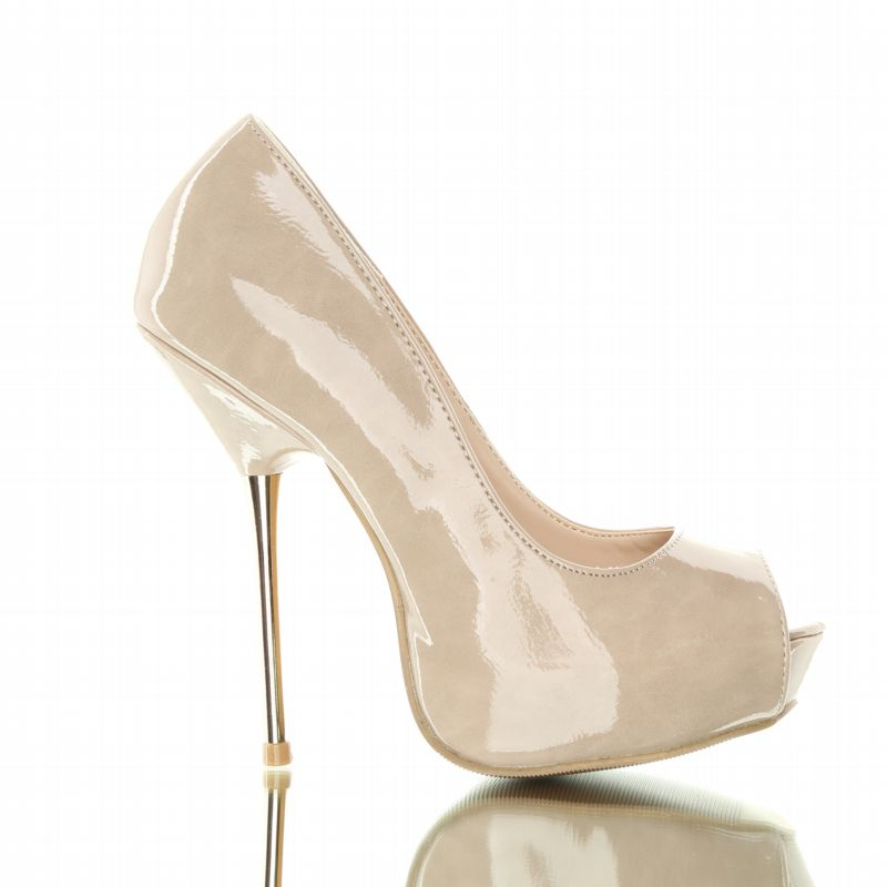 buty beige - Stylish, beautiful metal-heeled shoes. Beige.