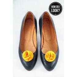 Klipsy do butów Felt Flower. Żółte.