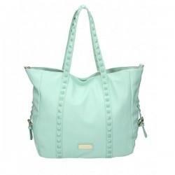 Niebieska torebka z kwadratowymi ćwiekami na pasku. Elegancka i pojemna.