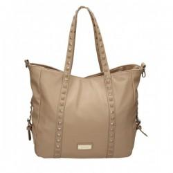 Beżowa torebka z kwadratowymi ćwiekami na pasku. Elegancka i pojemna.