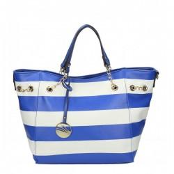 Niebiesko-biała torebka w poziome pasy ze zdobieniami.