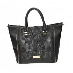 Czarna torebka damska ze wstawkami imitującymi skórę węża.