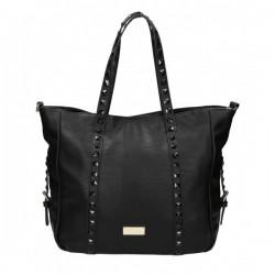 Czarna torebka z kwadratowymi ćwiekami na pasku. Elegancka i pojemna.