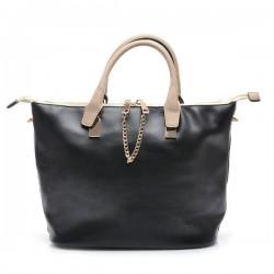 Czarna torebka damska z łańcuszkiem i beżową rączką. Elegancka i pojemna.