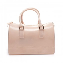 Torebka damska, gumowy kuferek, kolor beżowy. Cudowna i pakowna torba.