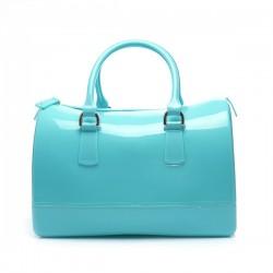 Torebka damska, gumowy kuferek, kolor niebieski. Cudowna i pakowna torba.