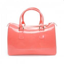 Torebka damska, gumowy kuferek, kolor czerwony. Cudowna i pakowna torba.