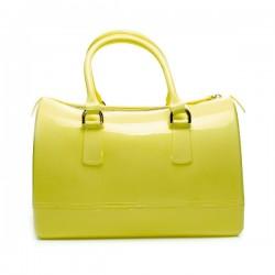 Torebka damska, gumowy kuferek, kolor żółty. Cudowna i pakowna torba.