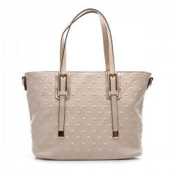 Beżowa torebka damska z kwadratowymi ćwiekami. Elegancka i pojemna.