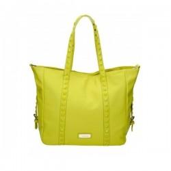 Żółta torebka z kwadratowymi ćwiekami na pasku. Elegancka i pojemna.
