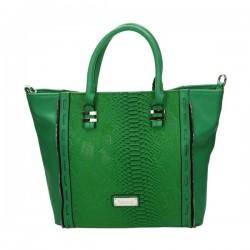 Zielona torebka damska ze wstawkami imitującymi skórę węża.